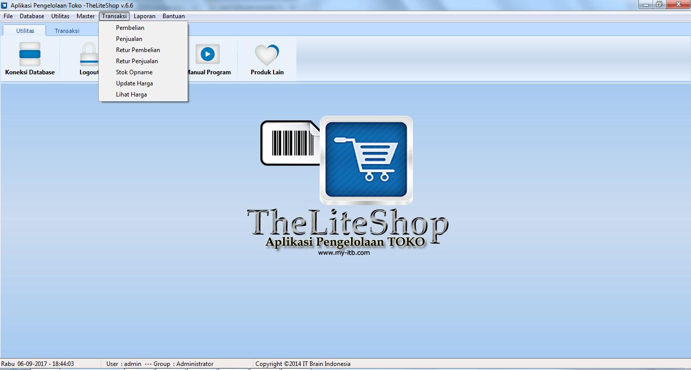 Menu Transaksi Software Toko