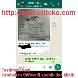 Testimoni Transfer Pembelian Software Apotek dan Klinik