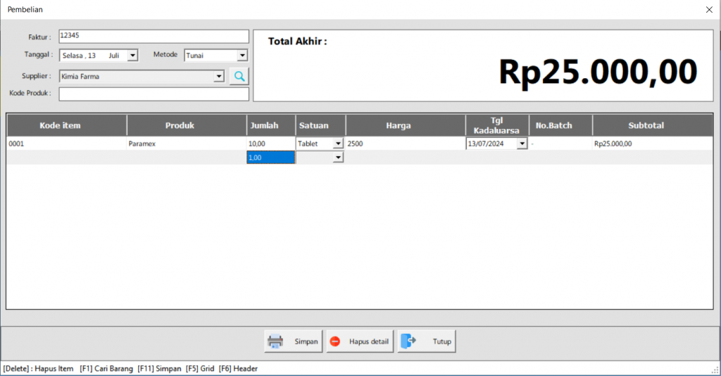 ITBrain POS Apotek | Input Pembelian